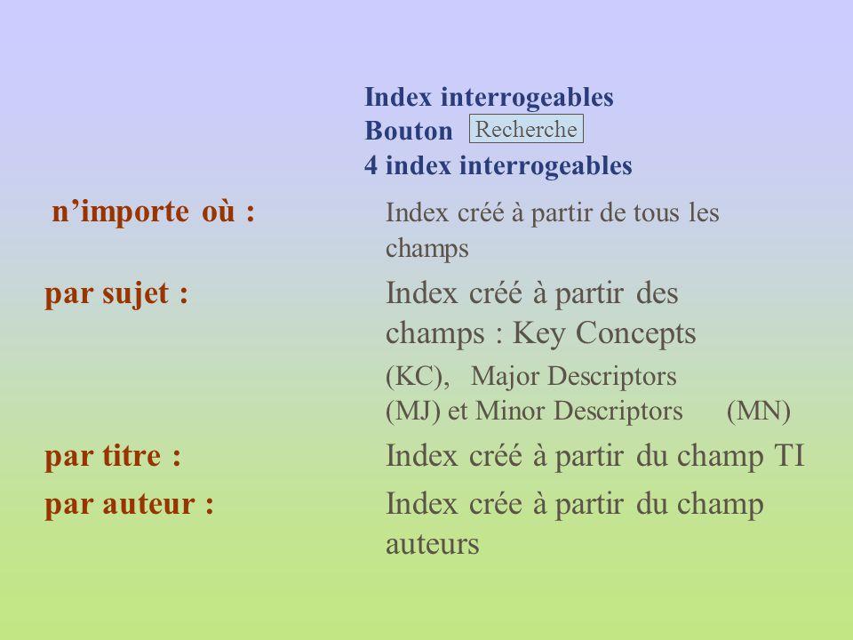 Index interrogeables Bouton 4 index interrogeables nimporte où : Index créé à partir de tous les champs par sujet :Index créé à partir des champs : Ke