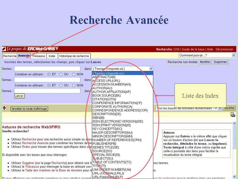 Bouton 29 index interrogeables Termes nimporte où AbstractsMajor Descriptors (MJ) Access URL (URL)Minor Descriptors (MN) Accession number (AN)Number Of References (CRN) Author (AU)Publisher (PB) Author Affiliation (AF)Series Title (SE) Book Source (BK)Source (SO) Citation (CITN)Special Issue (SI) Conference Information (CF)Subject (SU)=KE, MJ, MN Corporate Author (CA)Table of Contents (TC) Correspondance Adress (COR)Title (TI) Descriptors (DE)Umi order Number (UM) ISBN (IB)Url-Journal (URLJ) ISSN (Electronic Version) (ISE)Url-Publisher (URLP) ISSN (Print Version) (IS) Key Concepts (KC) Avancée