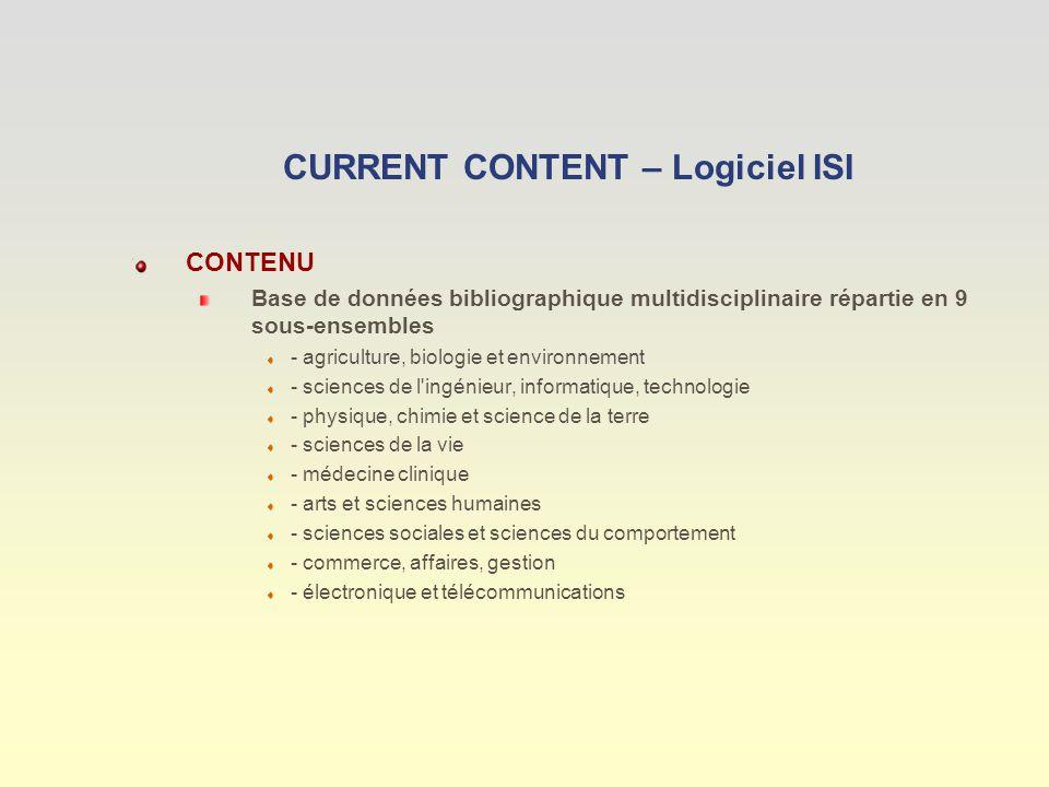 GESTION DES REFERENCES PERTINENTES : Bouton « My List » Choix des champs à afficher Option : -Impression -Enregistrement - Exportation dans un logiciel documentaire Envoi des références par courriel