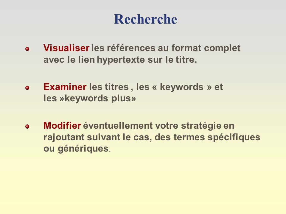 Recherche Visualiser les références au format complet avec le lien hypertexte sur le titre.