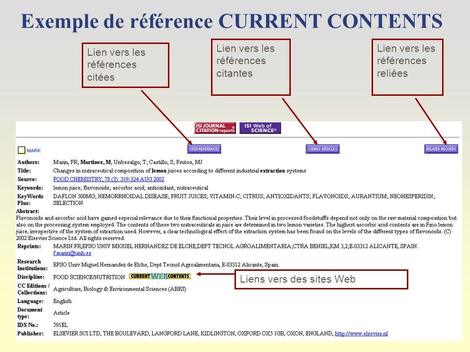 Exemple de référence CURRENT CONTENTS Liens vers des sites Web Lien vers les références citées Lien vers les références citantes Lien vers les références reliées