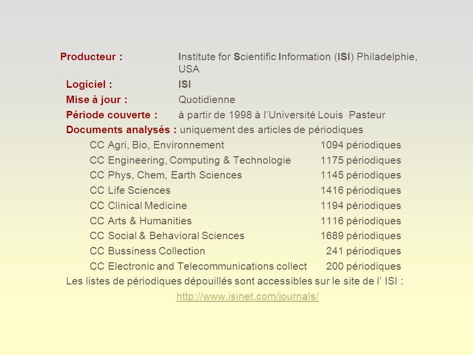 Exemple de références CURRENT CONTENTS
