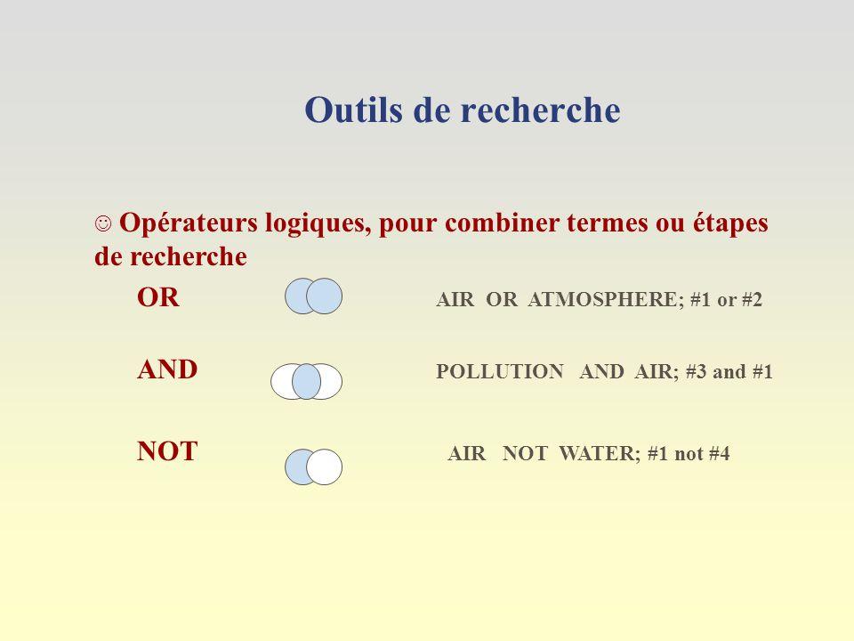 Outils de recherche Opérateurs logiques, pour combiner termes ou étapes de recherche OR AIR OR ATMOSPHERE; #1 or #2 AND POLLUTION AND AIR; #3 and #1 NOT AIR NOT WATER; #1 not #4