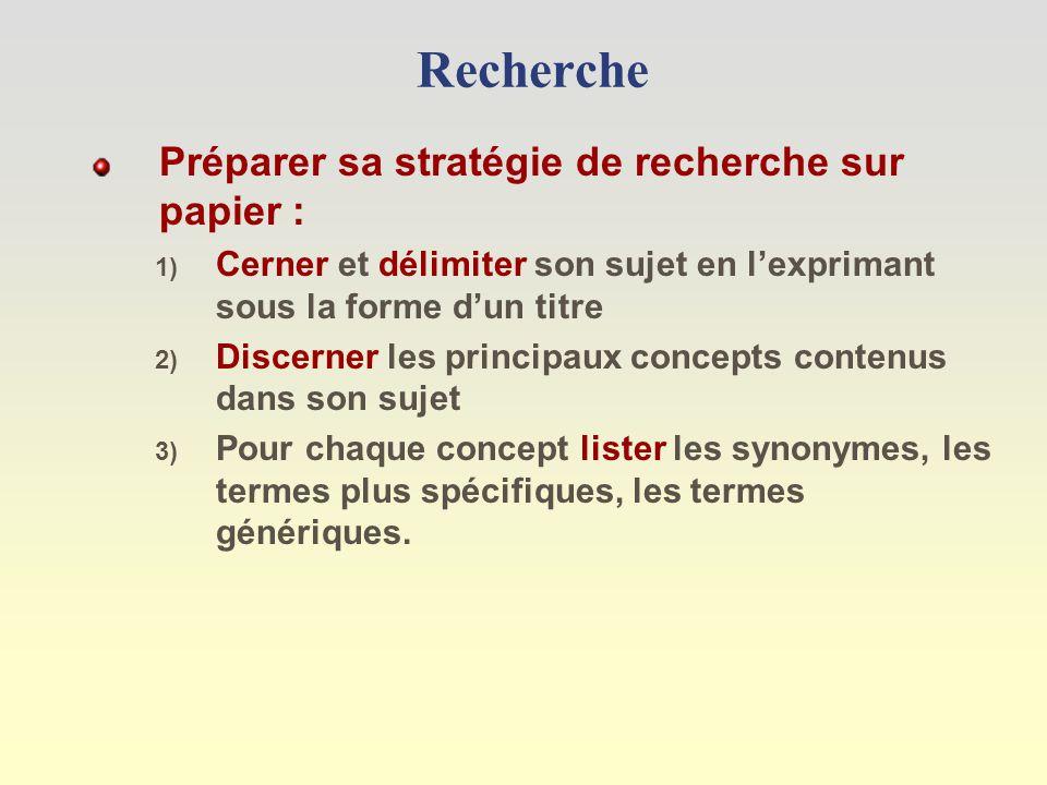 Recherche Préparer sa stratégie de recherche sur papier : 1) Cerner et délimiter son sujet en lexprimant sous la forme dun titre 2) Discerner les principaux concepts contenus dans son sujet 3) Pour chaque concept lister les synonymes, les termes plus spécifiques, les termes génériques.