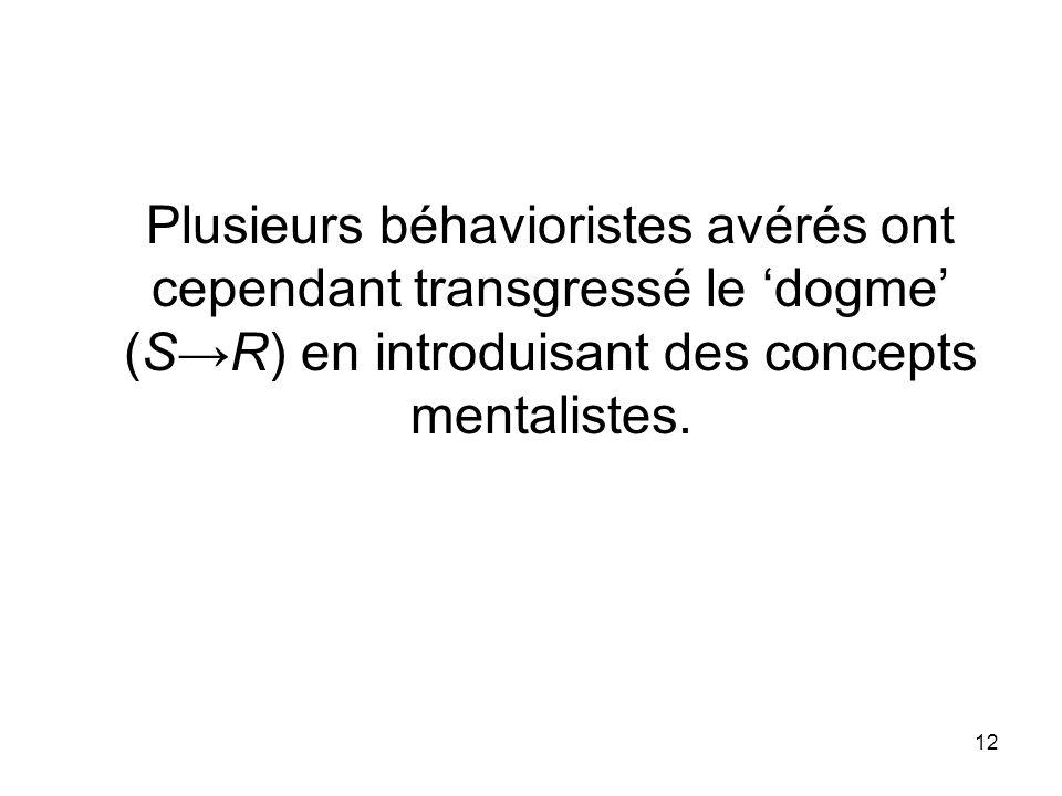 12 Plusieurs béhavioristes avérés ont cependant transgressé le dogme (SR) en introduisant des concepts mentalistes.