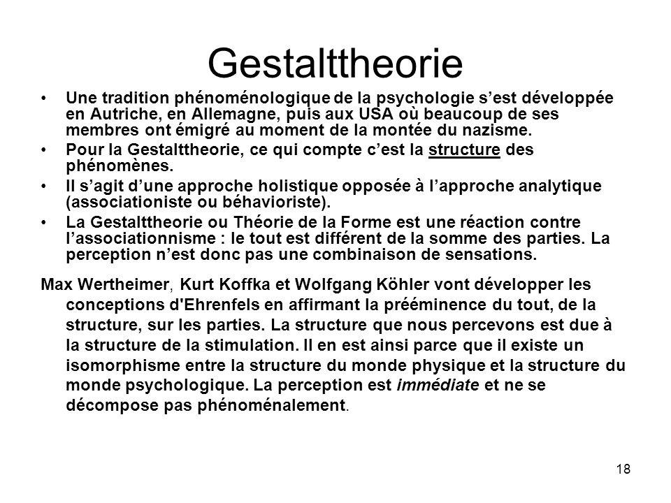 18 Gestalttheorie Une tradition phénoménologique de la psychologie sest développée en Autriche, en Allemagne, puis aux USA où beaucoup de ses membres
