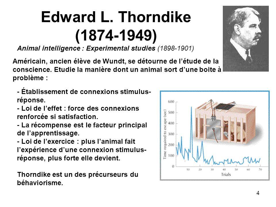 4 Edward L. Thorndike (1874-1949) Animal intelligence : Experimental studies (1898-1901) Américain, ancien élève de Wundt, se détourne de létude de la