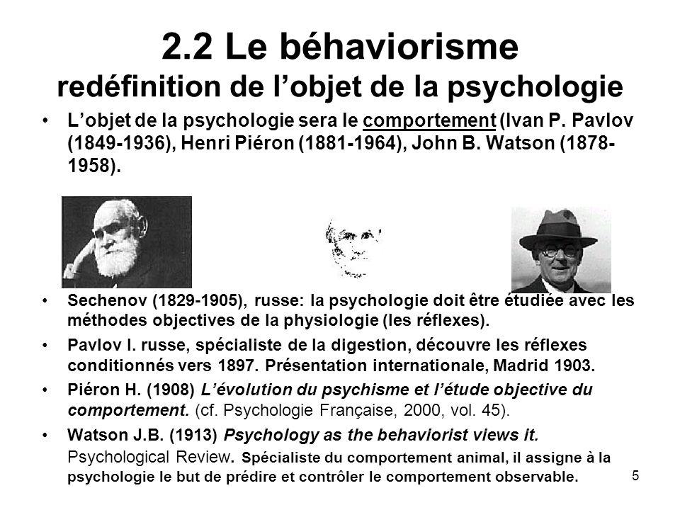 5 2.2 Le béhaviorisme redéfinition de lobjet de la psychologie Lobjet de la psychologie sera le comportement (Ivan P. Pavlov (1849-1936), Henri Piéron