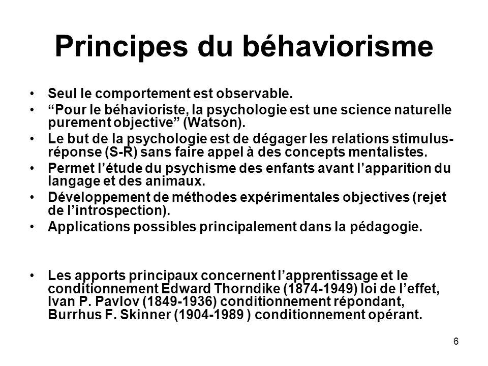 6 Principes du béhaviorisme Seul le comportement est observable. Pour le béhavioriste, la psychologie est une science naturelle purement objective (Wa