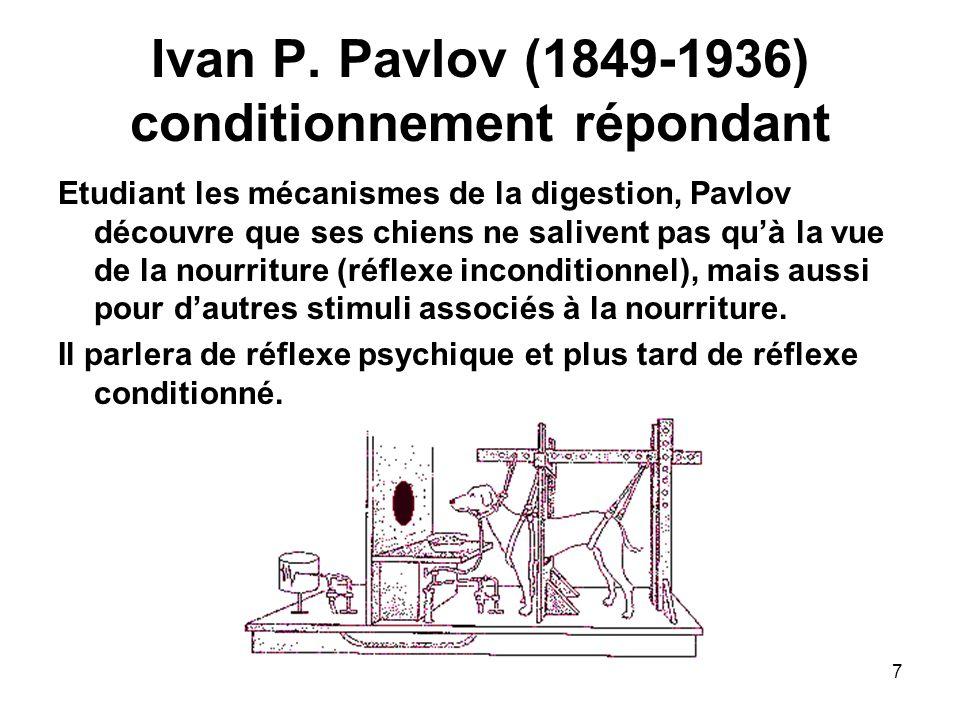 7 Ivan P. Pavlov (1849-1936) conditionnement répondant Etudiant les mécanismes de la digestion, Pavlov découvre que ses chiens ne salivent pas quà la