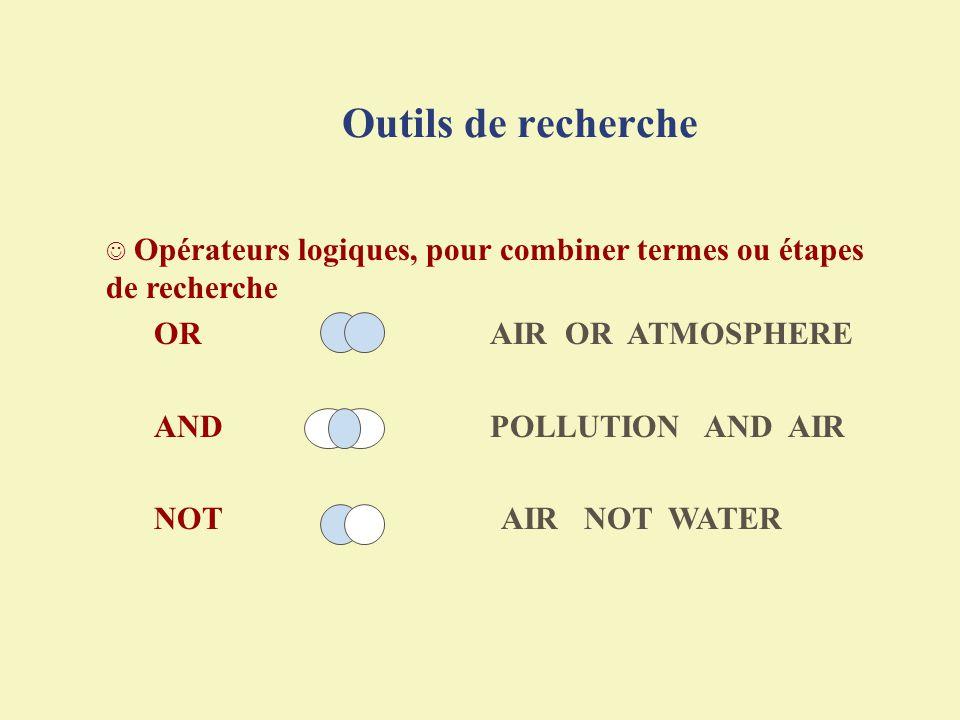 Outils de recherche Opérateurs logiques, pour combiner termes ou étapes de recherche OR AIR OR ATMOSPHERE ANDPOLLUTION AND AIR NOT AIR NOT WATER