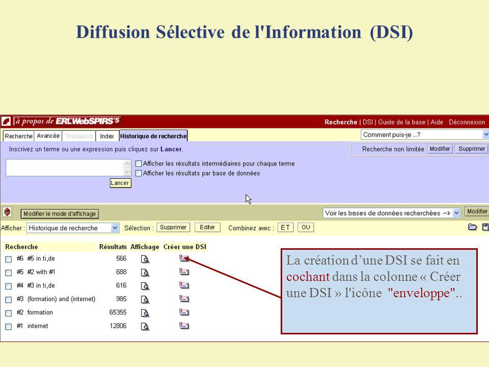 Diffusion Sélective de l'Information (DSI) La création dune DSI se fait en cochant dans la colonne « Créer une DSI » l'icône