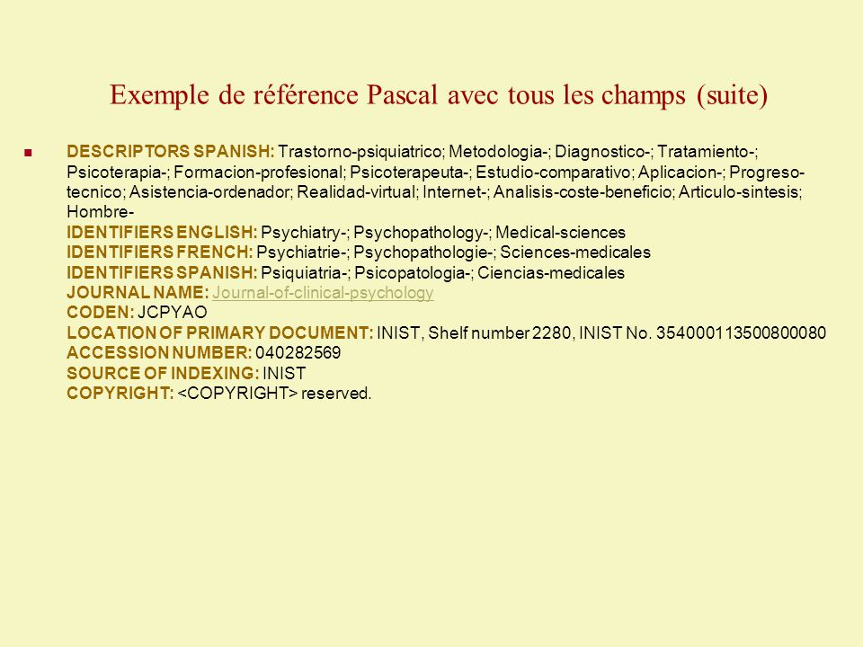 Liste des champs présents dans la base de données PASCAL Webspirs 5 Remarque : les champs dont le sigle est en caractère gras sont des champs limitatifs pour lesquels il existe des options de limites.