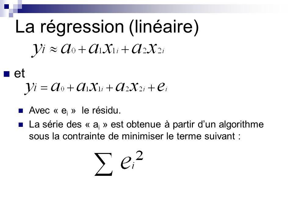 La régression (linéaire) et Avec « e i » le résidu. La série des « a i » est obtenue à partir dun algorithme sous la contrainte de minimiser le terme