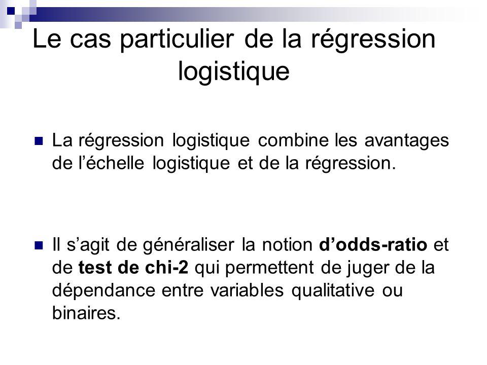 Le cas particulier de la régression logistique La régression logistique combine les avantages de léchelle logistique et de la régression. Il sagit de