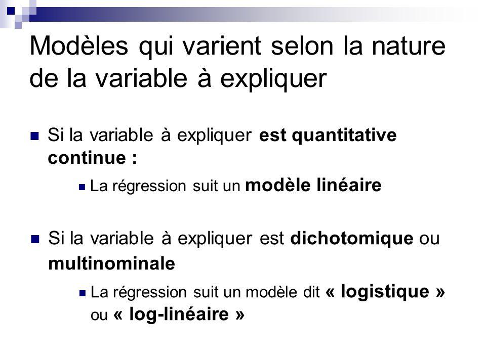 Modèles qui varient selon la nature de la variable à expliquer Si la variable à expliquer est quantitative continue : La régression suit un modèle lin