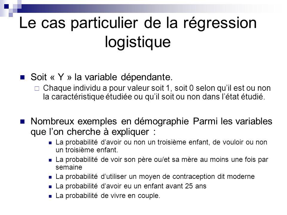Le cas particulier de la régression logistique Soit « Y » la variable dépendante. Chaque individu a pour valeur soit 1, soit 0 selon quil est ou non l