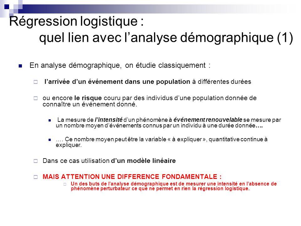 Régression logistique : quel lien avec lanalyse démographique (2) Si le phénomène étudié se manifeste par un événement non renouvelable : La mesure de lintensité dun phénomène à événement non renouvelable se mesure par une proportion….