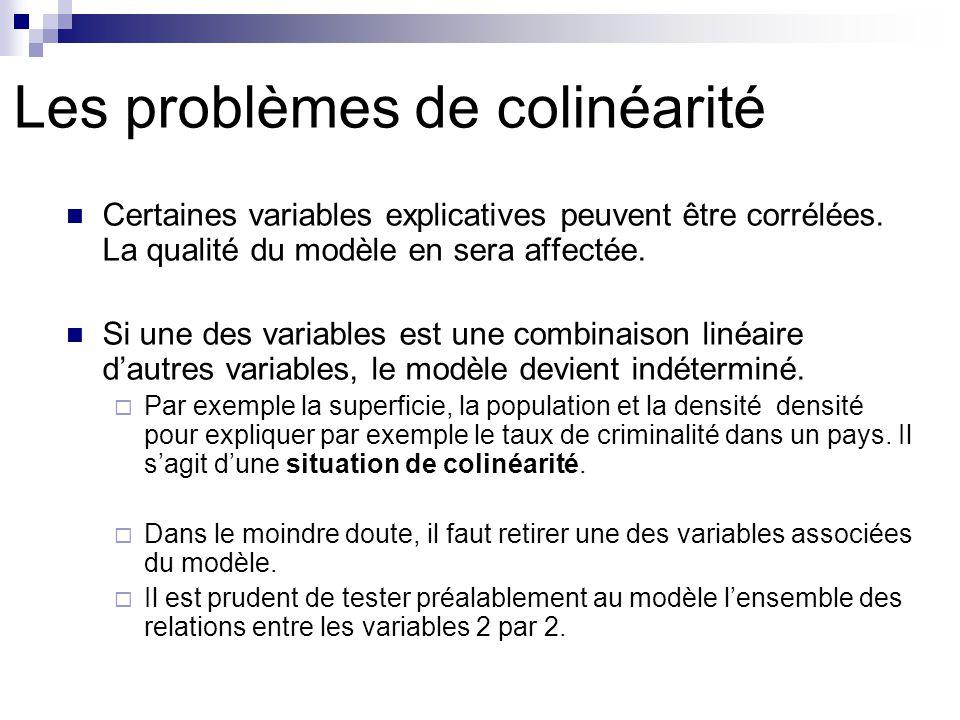 Les problèmes de colinéarité Certaines variables explicatives peuvent être corrélées. La qualité du modèle en sera affectée. Si une des variables est