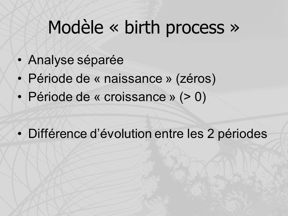 Modèle « birth process » Analyse séparée Période de « naissance » (zéros) Période de « croissance » (> 0) Différence dévolution entre les 2 périodes