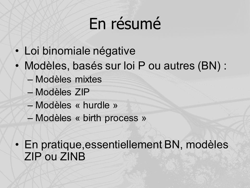 En résumé Loi binomiale négative Modèles, basés sur loi P ou autres (BN) : –Modèles mixtes –Modèles ZIP –Modèles « hurdle » –Modèles « birth process »