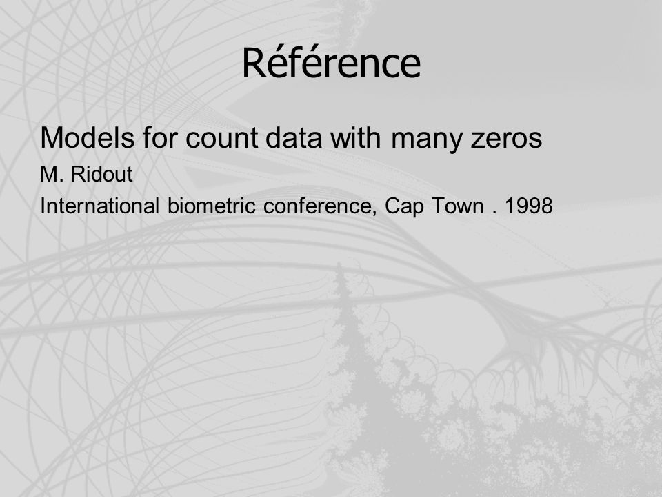 Référence Models for count data with many zeros M.