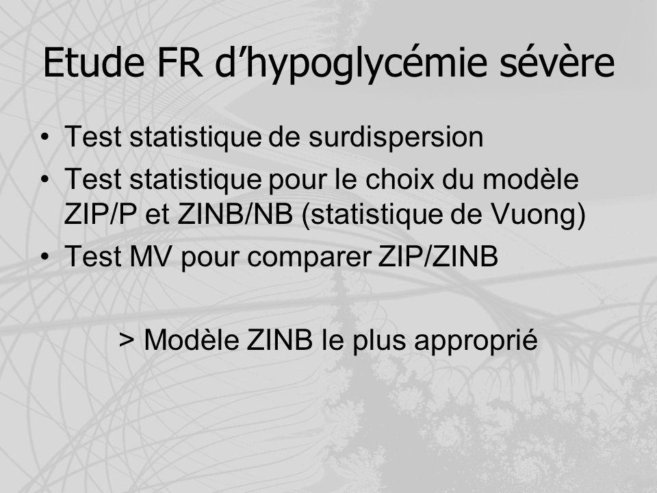 Etude FR dhypoglycémie sévère Test statistique de surdispersion Test statistique pour le choix du modèle ZIP/P et ZINB/NB (statistique de Vuong) Test