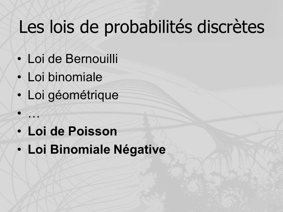 Les lois de probabilités discrètes Loi de Bernouilli Loi binomiale Loi géométrique … Loi de Poisson Loi Binomiale Négative