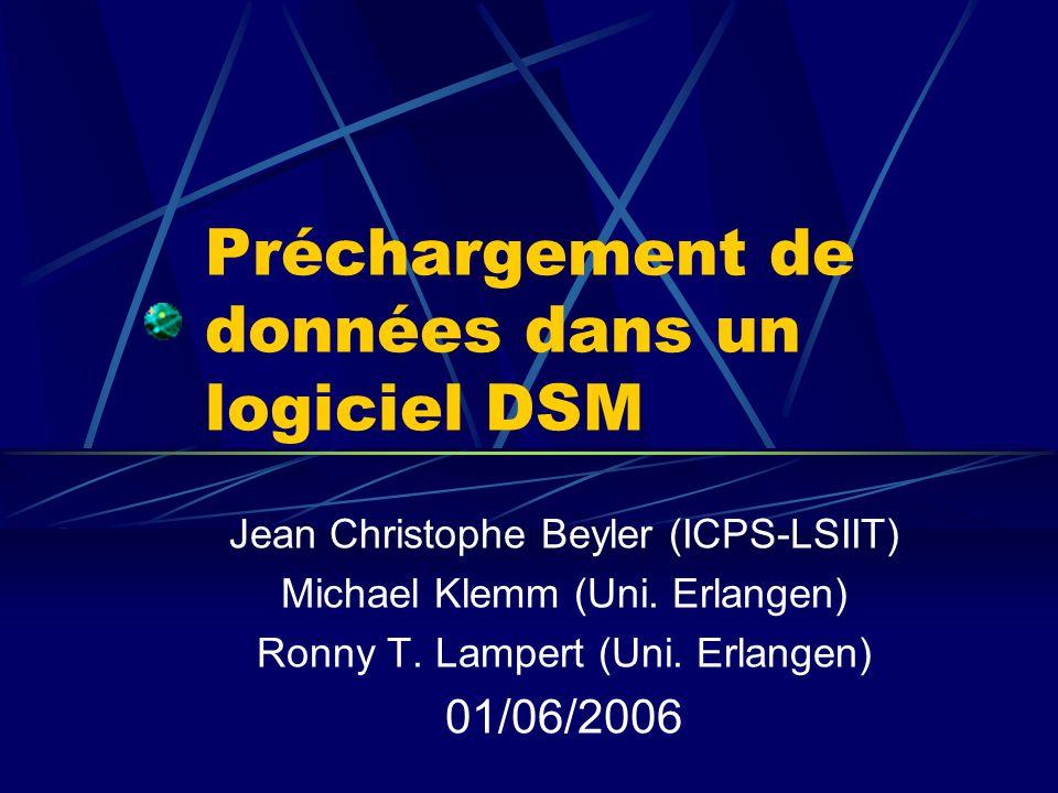 Préchargement de données dans un logiciel DSM Jean Christophe Beyler (ICPS-LSIIT) Michael Klemm (Uni.