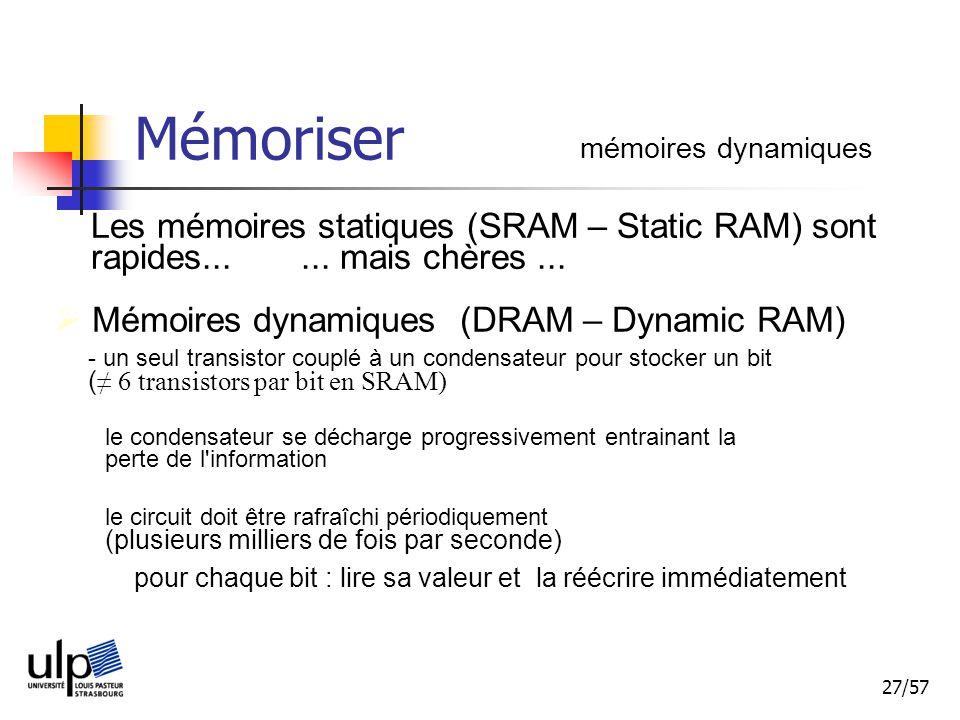 27/57 Mémoriser mémoires dynamiques Les mémoires statiques (SRAM – Static RAM) sont rapides......