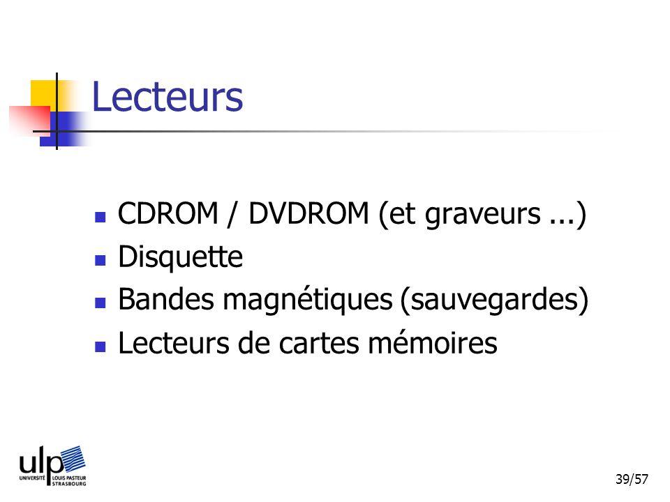 39/57 Lecteurs CDROM / DVDROM (et graveurs...) Disquette Bandes magnétiques (sauvegardes) Lecteurs de cartes mémoires