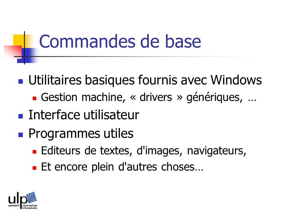 Commandes de base Utilitaires basiques fournis avec Windows Gestion machine, « drivers » génériques, … Interface utilisateur Programmes utiles Editeurs de textes, d images, navigateurs, Et encore plein d autres choses…