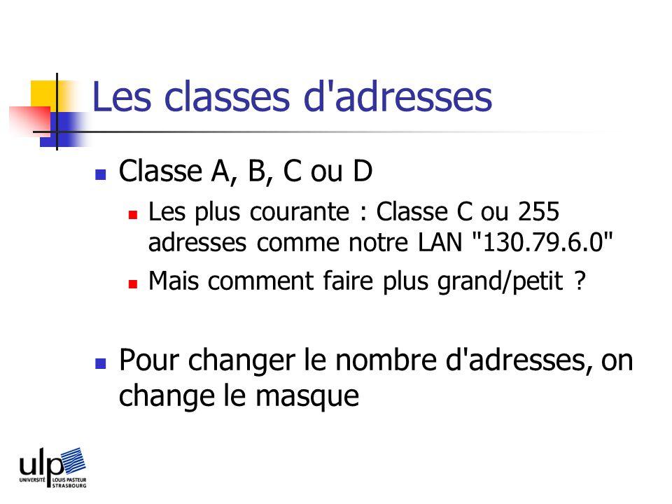 Les classes d adresses Classe A, B, C ou D Les plus courante : Classe C ou 255 adresses comme notre LAN 130.79.6.0 Mais comment faire plus grand/petit .