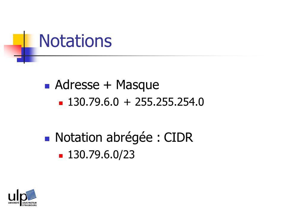 Notations Adresse + Masque 130.79.6.0 + 255.255.254.0 Notation abrégée : CIDR 130.79.6.0/23