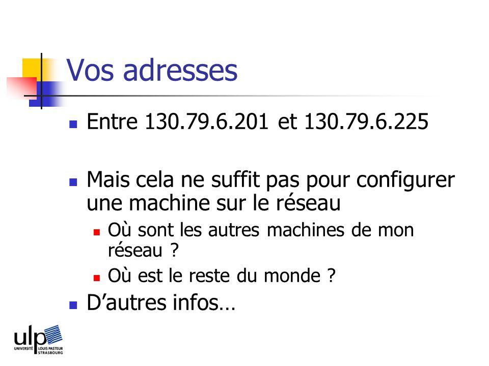 Vos adresses Entre 130.79.6.201 et 130.79.6.225 Mais cela ne suffit pas pour configurer une machine sur le réseau Où sont les autres machines de mon réseau .