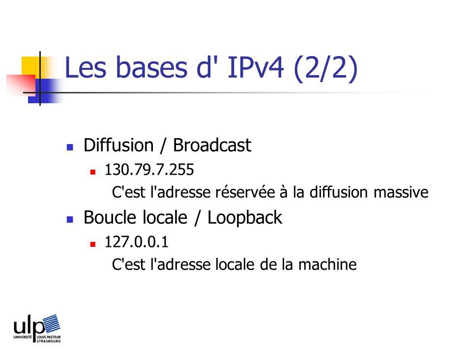 Les bases d IPv4 (2/2) Diffusion / Broadcast 130.79.7.255 C est l adresse réservée à la diffusion massive Boucle locale / Loopback 127.0.0.1 C est l adresse locale de la machine