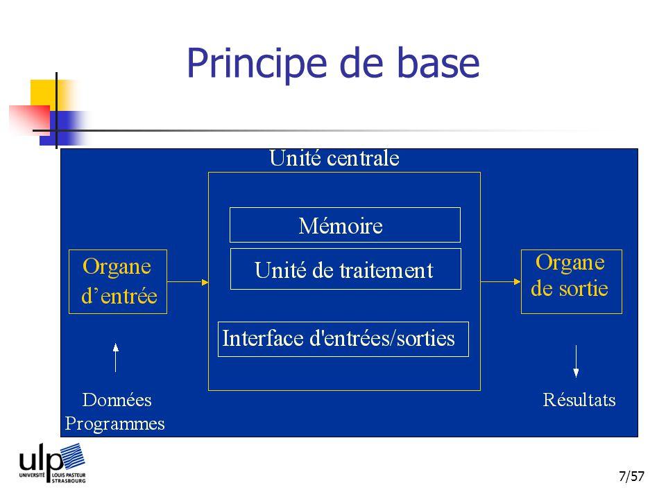 18/57 Architecture classique dun processeur Schéma classique simplifié mémoire données contrôle registres données registre instruction décodeur adresses UAL données contrôle adresses registre instruction décodeur registres données UAL