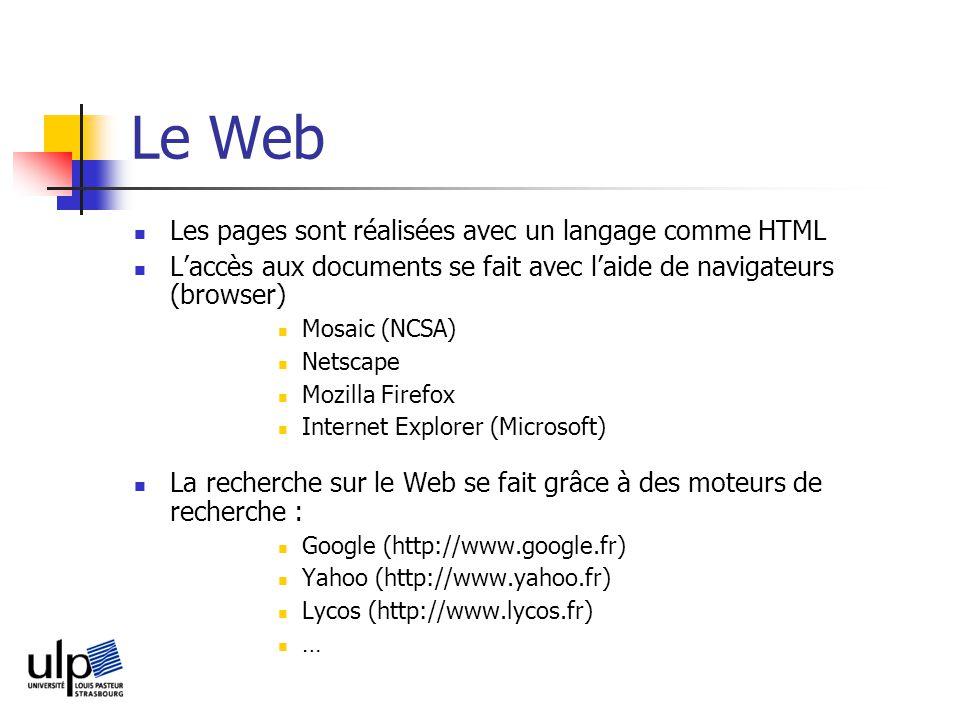 Le Web Les pages sont réalisées avec un langage comme HTML Laccès aux documents se fait avec laide de navigateurs (browser) Mosaic (NCSA) Netscape Mozilla Firefox Internet Explorer (Microsoft) La recherche sur le Web se fait grâce à des moteurs de recherche : Google (http://www.google.fr) Yahoo (http://www.yahoo.fr) Lycos (http://www.lycos.fr) …