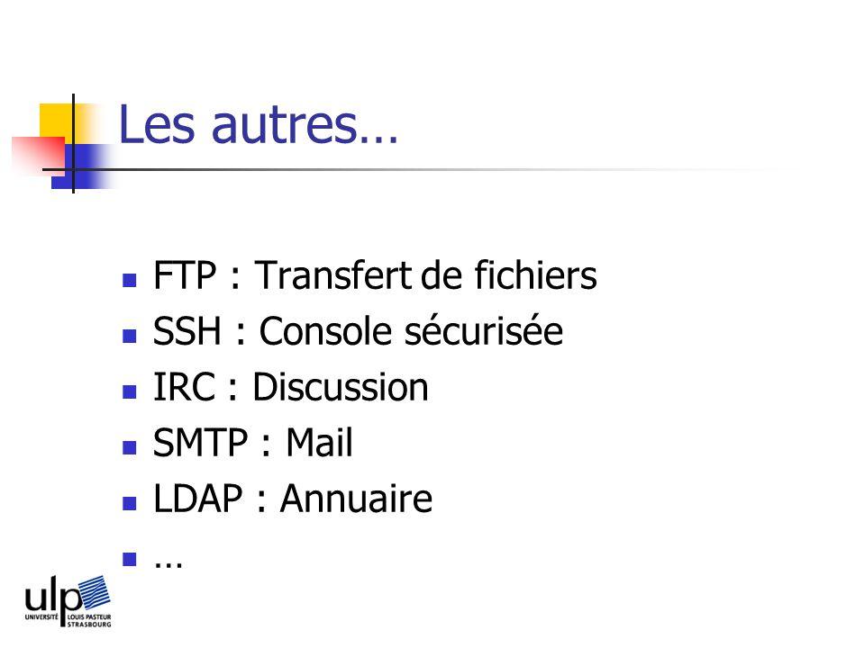 Les autres… FTP : Transfert de fichiers SSH : Console sécurisée IRC : Discussion SMTP : Mail LDAP : Annuaire …