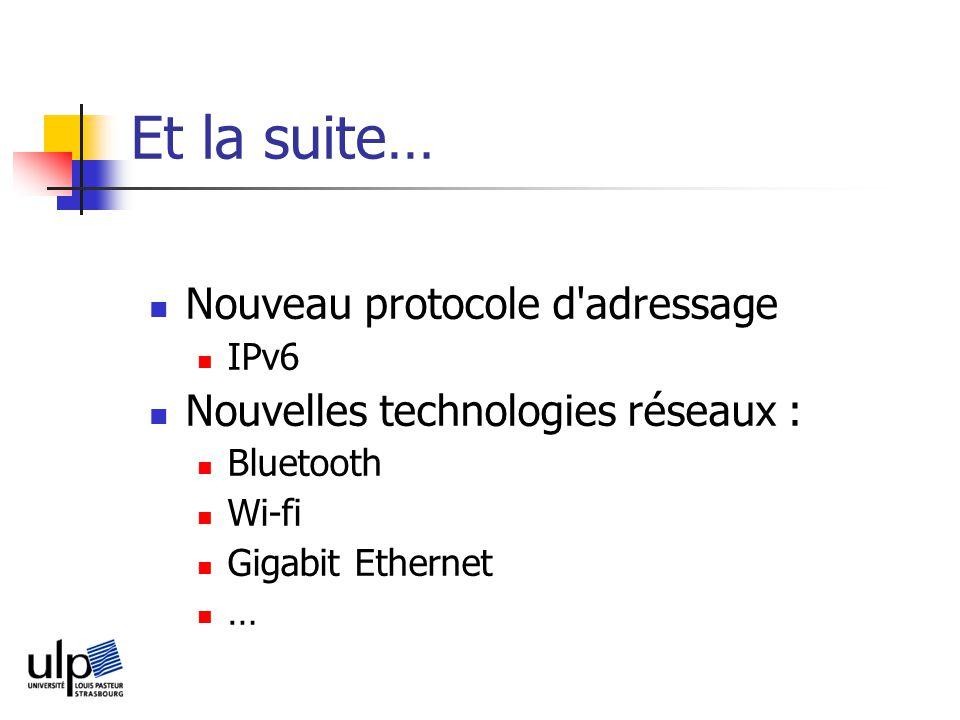 Et la suite… Nouveau protocole d adressage IPv6 Nouvelles technologies réseaux : Bluetooth Wi-fi Gigabit Ethernet …