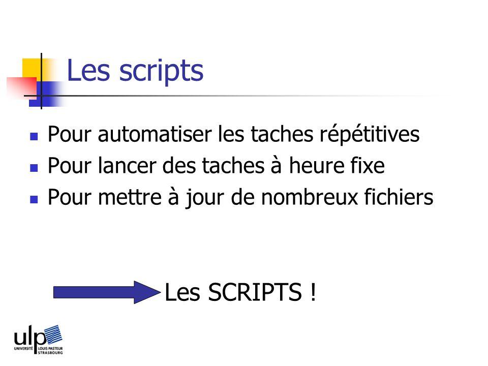 Les scripts Pour automatiser les taches répétitives Pour lancer des taches à heure fixe Pour mettre à jour de nombreux fichiers Les SCRIPTS !