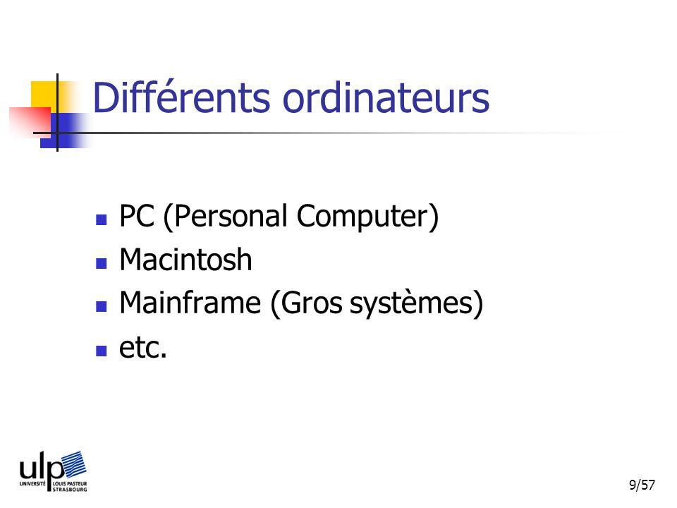 9/57 Différents ordinateurs PC (Personal Computer) Macintosh Mainframe (Gros systèmes) etc.