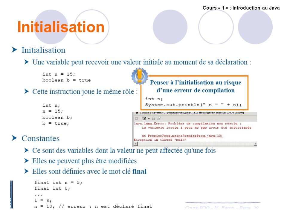 Initialisation Cours « 1 » : Introduction au Java