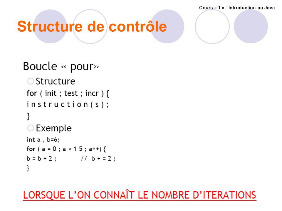 Structure de contrôle Cours « 1 » : Introduction au Java