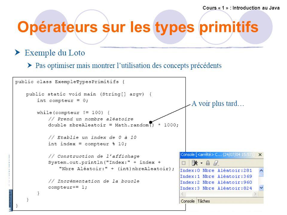 Opérateurs sur les types primitifs Cours « 1 » : Introduction au Java