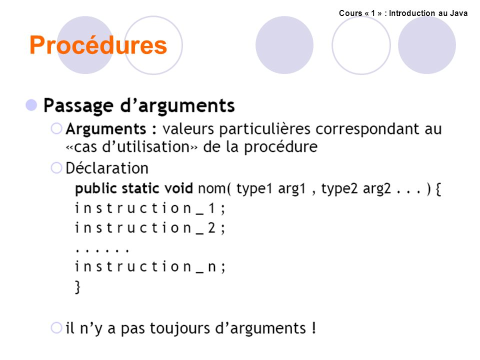 Procédures Cours « 1 » : Introduction au Java