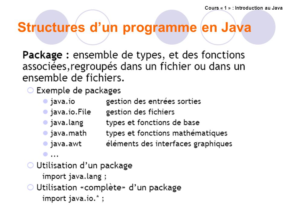 Structures dun programme en Java Cours « 1 » : Introduction au Java