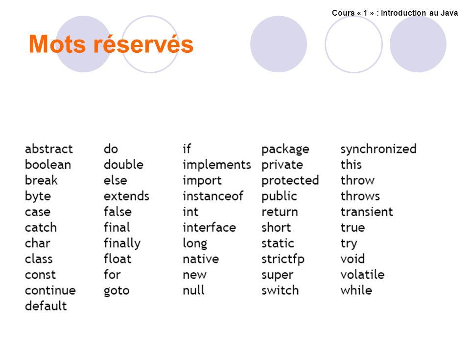 Mots réservés Cours « 1 » : Introduction au Java