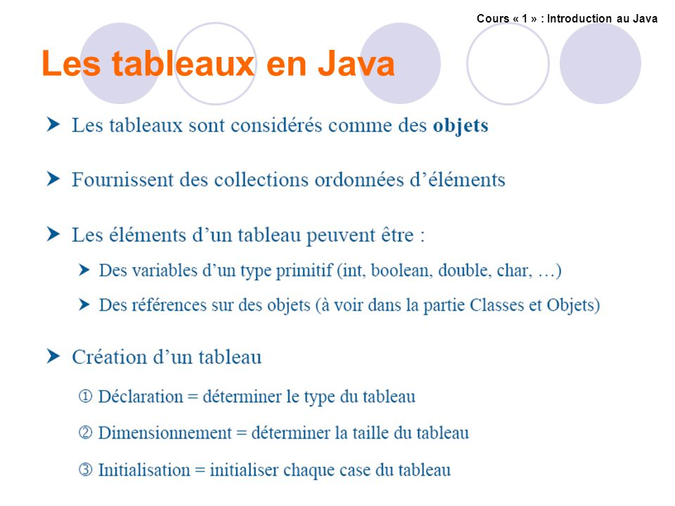 Les tableaux en Java Cours « 1 » : Introduction au Java