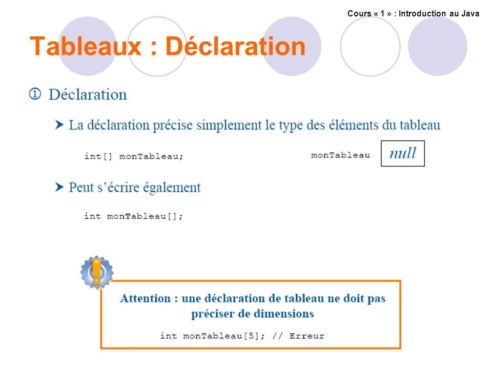 Tableaux : Déclaration Cours « 1 » : Introduction au Java